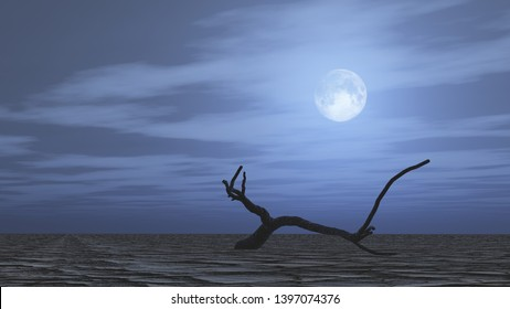 Lonely dry tree in dry wasteland at night, A branch on cracked ground. Full moon in the sky, Affected of global warming made climate change.Dry waterless wasteland. Dead tree stub, 3D render