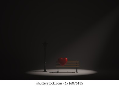 Lonely heart in the night, heart on an empty bench. 3D illustration.