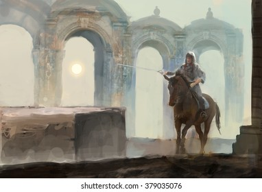 lonely horseman riding near temple