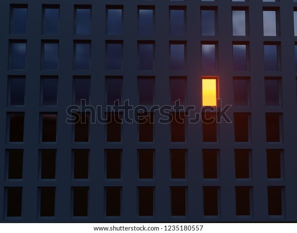 lonely luminous window in a dark house, 3d illustration