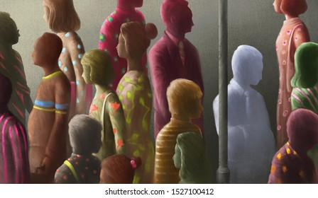 Lonely man in the crowd, sad, alone, depression, unhappy, contrast, different, surreal painting illustration