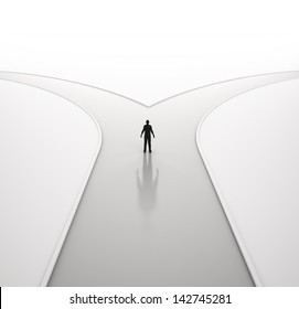 A lonely man on a crossroad