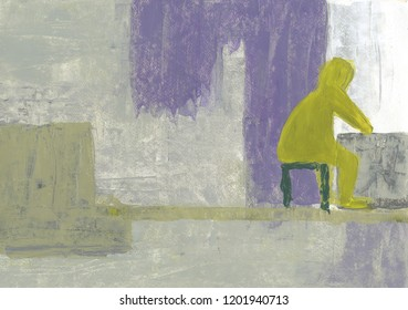 Lonely man sitting by the window. The old man in the room looks out the window. Sadness, loneliness, emptiness. Acrylic abstraction.