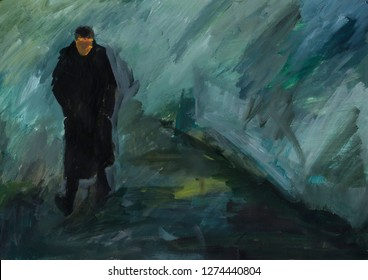 Lonely person in the drizzling rain. Man in black coat and boots walking on the road. Blue background. Abstract painting. Acrylic texture. Wet, damp, dank, crude, cold, chill weather.