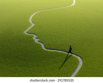 A lonely person walking along a face-shaped path