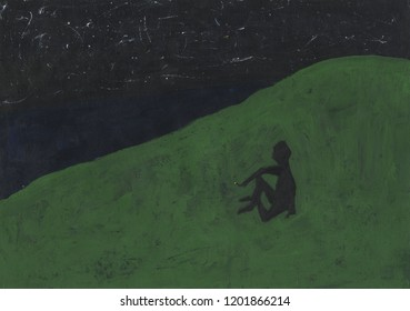 Lonely smoking man on a hill by the sea under the starry sky. Abstraction displays emotions such as sadness, loneliness, melancholy, sorrow, nostalgia, homesickness, stargazing. Hand drawn artwork.