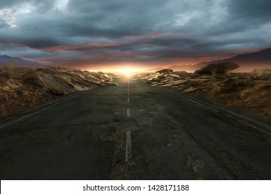 Lonely street through the desert (3D Rendering)