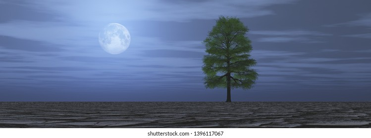 Lonely tree in dry wasteland at night, A tree growing on cracked ground. Full moon in the sky, Affected of global warming made climate change.Dry waterless wasteland. Dead tree stub, 3D rendering