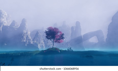 Lonely tree. Landscape with fog and mountains. Falling leaves with crown. Computer graphics video clip on topic - What Dreams May Come. 3D rendering. Here on site there is also 3d video of this scene.