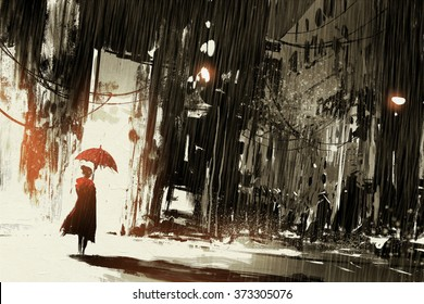 lonely woman with umbrella in abandoned city,digital painting,illustration