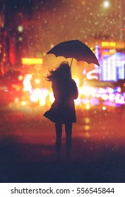 lonely woman with umbrella in night city,illustration painting