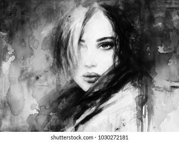 Loner. beautiful woman. fashion illustration. acrylic painting