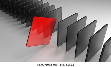 Loner. A red square is set off from the crowd. Symbol of courage and competition. 3D rendering.