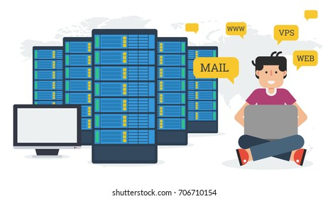 Long banner - Web hosting administration. Man with computer and server in flat style