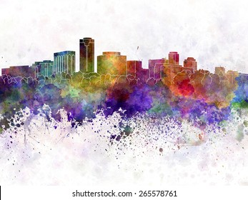 Long Beach skyline in watercolor background