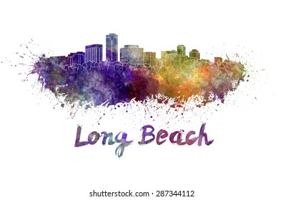 Long Beach skyline in watercolor splatters with clipping path