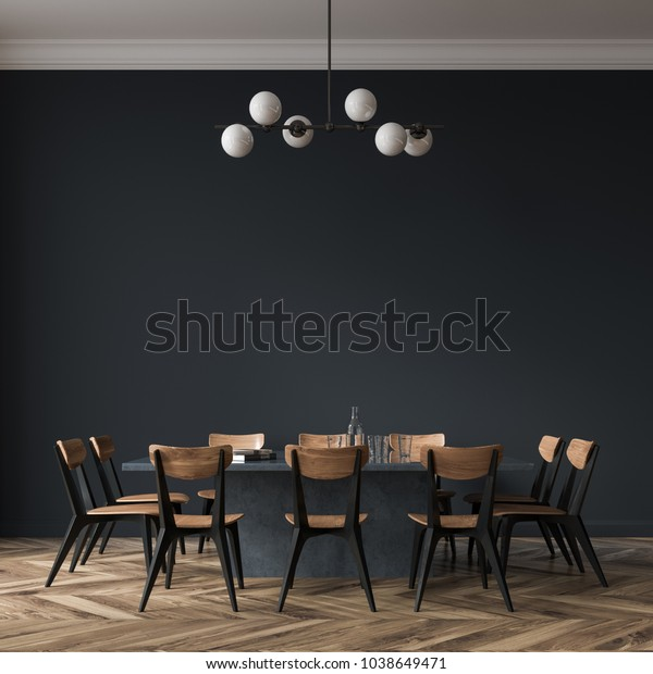 Long black dining room table with black and wooden chairs standing in a black room. 3d rendering mock up