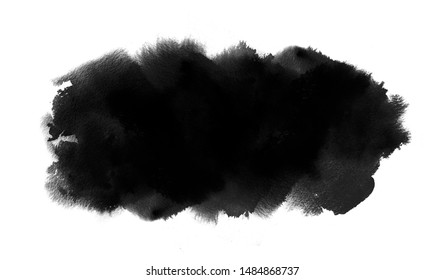 Long black watercolor spot with watercolour paint splash and wash texture. Ink background for Black Friday, Halloween banner
