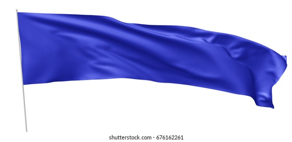 Long blue flag with flagpole waving and flying in the wind isolated on white, 3d illustration