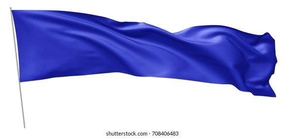 Long blue flag on flagpole flying and waving in wind isolated on white background, 3d illustration.