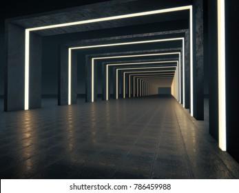Long dark corridor interior with futuristic light. 3D rendering