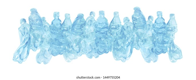 Long decorative border from hand drawn plastic bottles with place for your text. Illustration with artistic texture isolated on white background