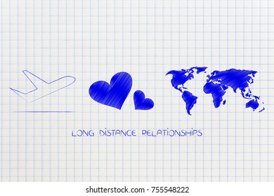 long distance relationship concept: airplane with lovehearts and world map with caption