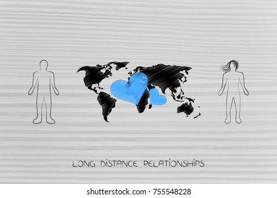 long distance relationship concept: people with world map and lovehearts in between them