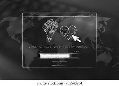 long distance relationship concept: pop-up message with love-themed icons loading above world map