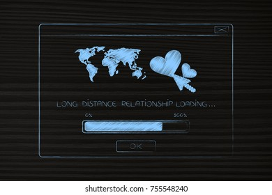 long distance relationship concept: pop-up message with lovehearts and worldmap with text loading