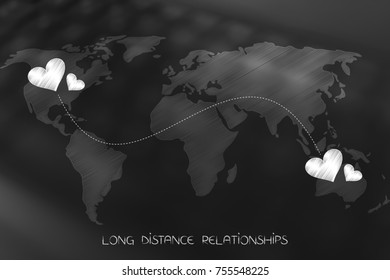long distance relationship concept: world map with lovehearts connected by dashed line across continents