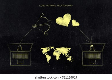 Long distance relationships conceptual illustration: world map in between laptops with cupids bow and lovehearts
