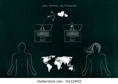 Long distance relationships conceptual illustration: world map in between two people and their laptops with cupids bow and lovehearts
