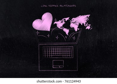 Long distance relationships conceptual illustration: laptop with lovehearts and world map flying out of it