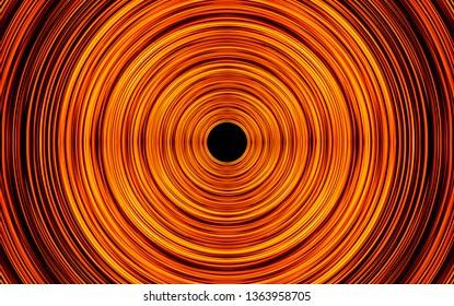 Long exposure motion glow. Orange neon light lines swirl. Round abstract circle shape.