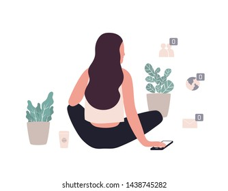 Long haired woman sitting among potted plants and zero unread messages notification symbols. Concept of solitude and loneliness on internet. Colorful illustration in contemporary art style.