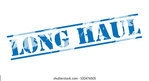 long haul blue stamp on white background