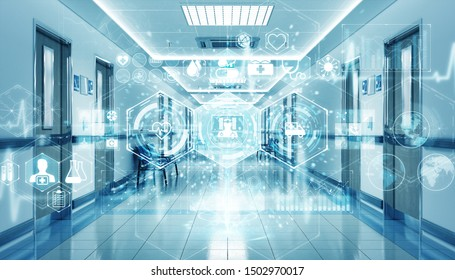 Long hospital blue corridor with digital medical infographics and charts 3D rendering