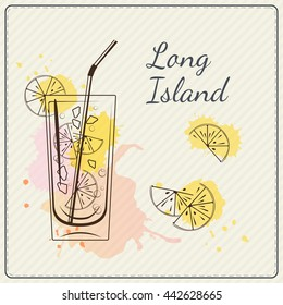Long island iced tea. Hand drawn cocktail. Watercolor illustration