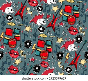 Long live rock  roll seamless pattern. Punk rock background. Skulls, guitars, vinyl records, stars, drums.