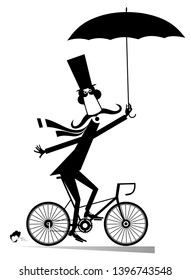 Long mustache man rides on the bike isolated illustration. Cartoon long mustache man in the top hat with umbrella rides on the bicycle black on white illustration