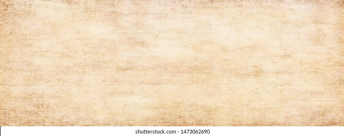 Long panoramic background.Antique vintage light yellow-brown texture.Rustic abstract old surface with gradient fine art design and vignette and copy space.