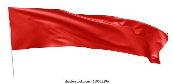 Long red flag vith flagpole flying and waving in the wind isolated on white, 3d illustration