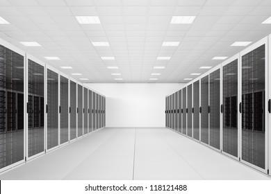 long row of server racks in a datacenter