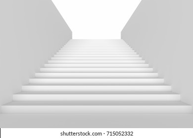 Long staircase with white stairs and walls in underground passage going up, 3d illustration
