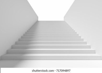 Long staircase with white stairs and walls and shadow from light in underground passage going up to the light, 3d illustration