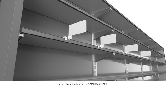 Long Supermarket Shelf With Rectangle Promo Price Tag Or Wobblers. 3D rendering