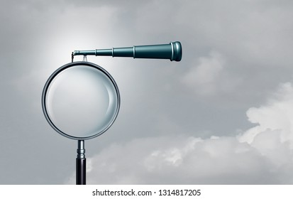 Long term outlook and business success forecasting seeking opportunity far away as a businessman on a magnifying glass looking through a telescope with 3D illustration elements.