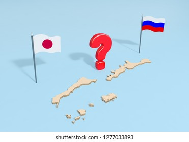 Long territorial dispute or hardcore negotiating between Russia and Japan on the issue of belonging of Kuril Islands. Russian and Japanese flags with question mark and map of islands. 3d rendering