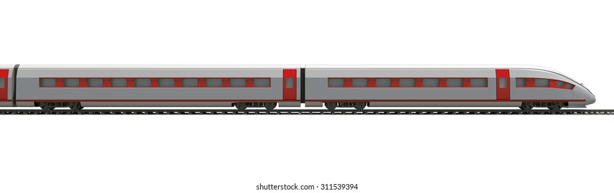Long train with stripes on isolated white background, side view